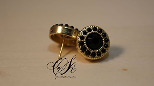 , Funky Earrings, Black and Gold Button, White and Gold Button, Elegant Jewelry, Minimalist Jewelry ()