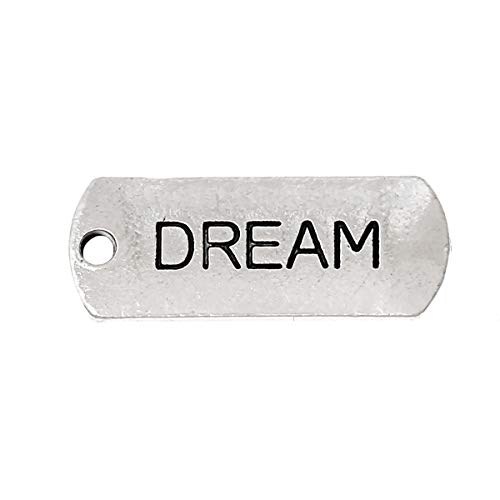 """PEPPERLONELY 30pc Antiqued Silver Alloy Message Dream Carved Rectangle Charms Pendants 21x8mm (7/8"""" x3/8"""")"""