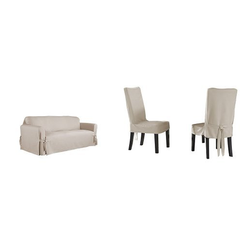 Serta Relaxed Fit Duck Furniture Slipcover for Sofa, Khaki and Serta Relaxed Fit Smooth Suede Furniture Slipcover for Short Dining Chair, Ivory