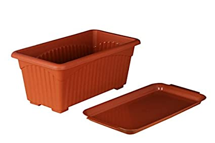 First Smart Deal Plastic Rectangle Pot Set (Brown, Pack of 3)
