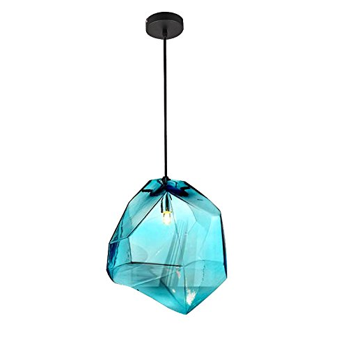 Lovedima Stone 1-Light Mini Colorful Glass Pendant Light Ceiling Lighting Fixture Lamp(Blue)