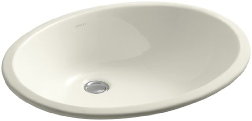 Kohler 2211-G-96 Vitreous china undermount Oval Bathroom Sink, 20.76 x 17.76 x 9.72 inches, Biscuit (Biscuit Kohler Caxton)