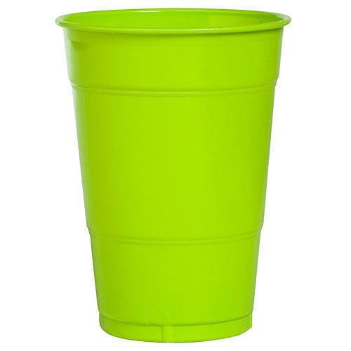 16 oz Lime Green Plastic Cups, 20 Pack