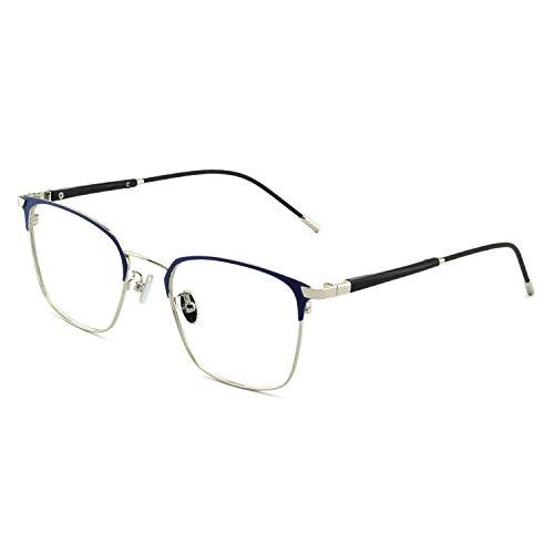 OCCI CHIARI Fashion Retro Rectangular Non-Prescription Eyewear Frame Designer For Women(Blue/silver)