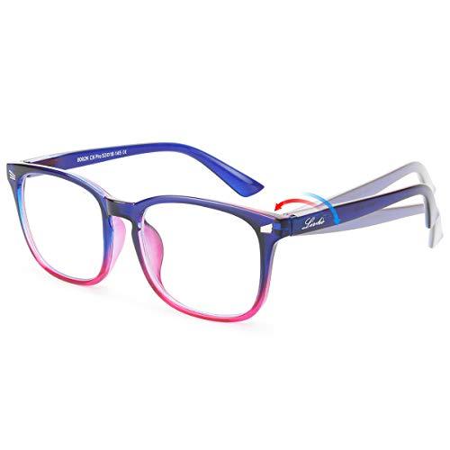 ng/TV/Phones Glasses for Women Men, Eyewear Spring Hinge Frame Eyeglasses (Blue Purple) - 0.0 Magnification ()
