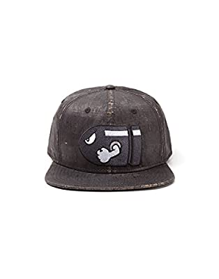 Nintendo Super Mario Bros. Bullet Bill Weathered Snapback Cap | Dark Grey by Bioworld EU