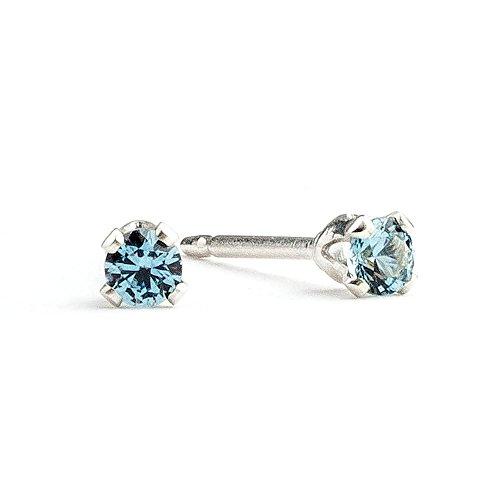 3mm Tiny Blue Zircon Stud Earrings in Sterling Silver - December - Zircon Earrings