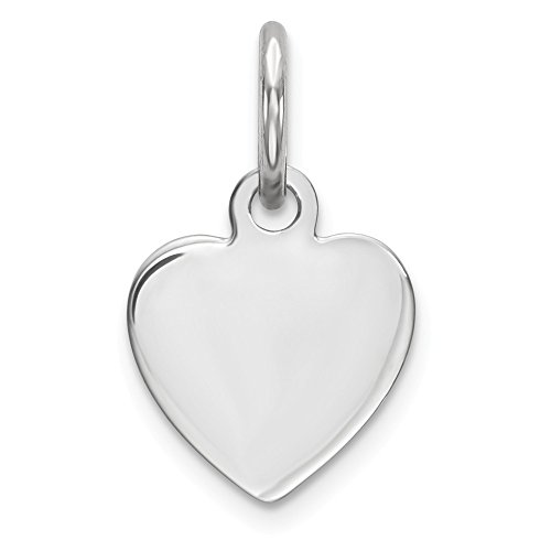 Sterling Silver Engraveable Heart Polished Disc Charm Pendant 13mm
