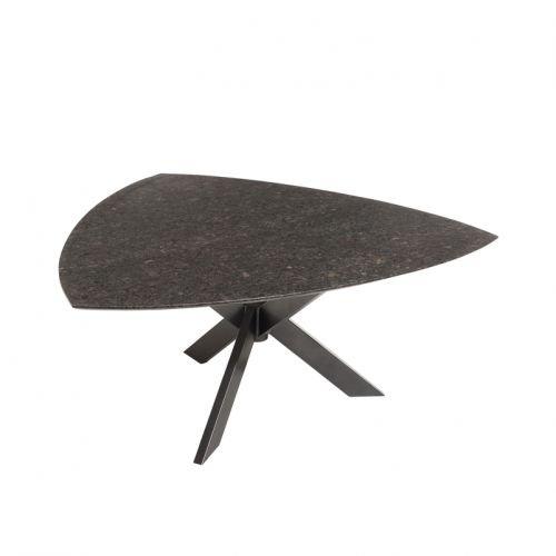 Granit Gartentisch Pearl Black Satiniert Dreieckiger Dunkelgrauer
