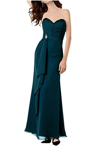 Herzausschnitt Blau Traegerlos Partykleider Schwarz Lang La Abendkleider Braut Chiffon Linie A Tinte mia Brautjungfernkleider qxnCw816O