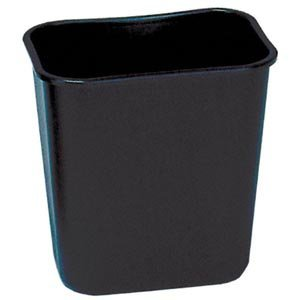 Bunzl Distribution Midcentral 177078511 Rubbermaid 2956 Wastebasket, Rectangular, 28  quart Black