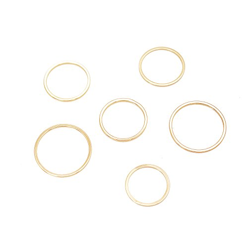 chelseachicNYC Cuddle your Finger Skinny Wire Multi Ring Set of 6 (Gold) -
