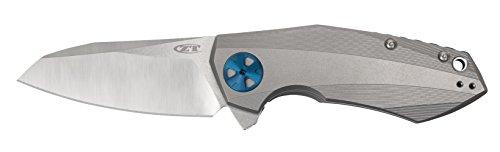 "Zero Tolerance 0456, Sinkevich Pocket Knife; 3.25"" CPM-20CV Steel Blade, Titanium Handle with Stonewash and Satin Finish, KVT Ball-Bearing Opening, Titanium Frame Lock, Reversible Pocketclip; 6.6 OZ. by Zero Tolerance (Image #1)"
