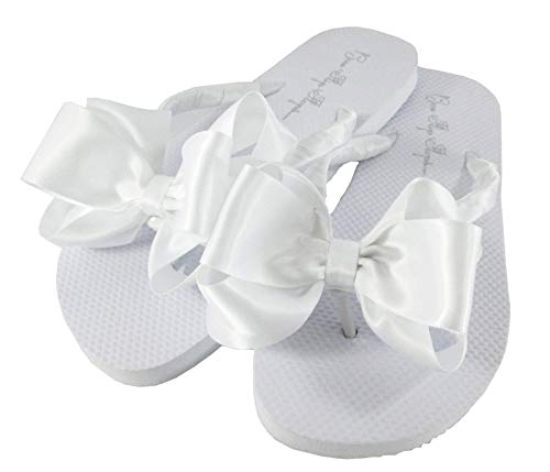 (Customized Colors Bridal Flip Flops Wedding White Bride Bow Flat Satin Flip)