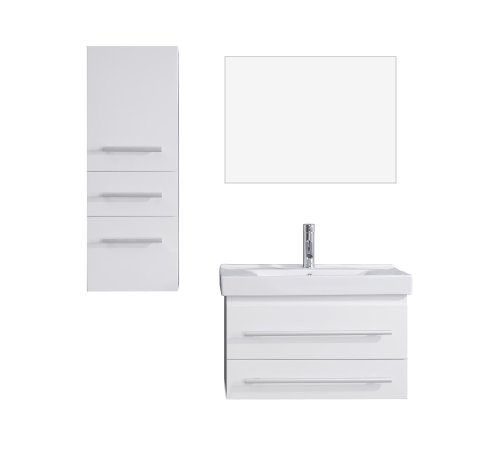 Virtu Usa Um 3081 C Wh Modern 29 Inch Single Sink Bathroom Vanity Set With Polished Chrome Faucet  White