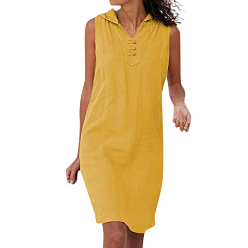 F_Gotal Womens Dresses Summer Casual Solid Mini Hoodies Tank Dress Sleeveless Beach Sundress Party Cocktail Yellow
