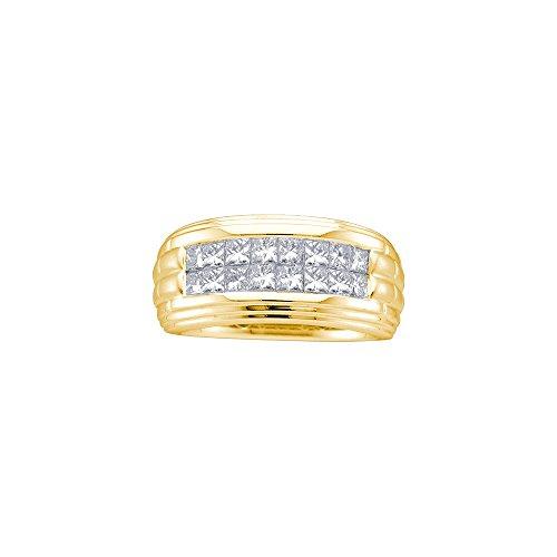 14kt Yellow Gold Mens Princess Diamond Double Row Wedding Band Ring 1/2 Cttw by JawaFashion