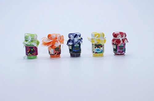 5 Glass Jar of Fruit Jam Set Dollhouse Miniature Handmade Food (Milk Bottle Halloween Lanterns)