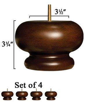 Set Of 4 Couch Bun Feet   Solid Wood In Walnut Finish   Dimensions:  3.75u0026quot