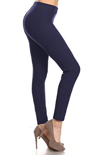 LDR128-Navy Basic Solid Leggings, One Size ()