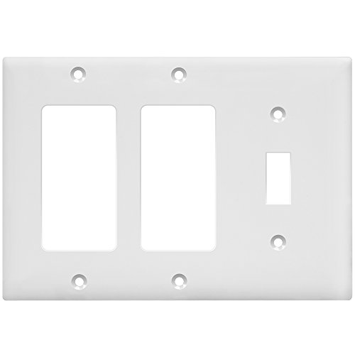 Enerlites 881132-W Combination Wall Plate (Two Decorator/Single Toggle Switch), Standard Size 3-Gang, Polycarbonate Thermoplastic, White (Gang Toggle Plastic Wall Plate)