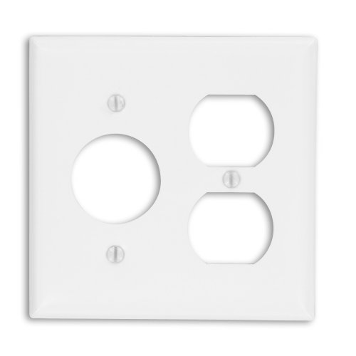 Leviton 88046 2-Gang 1-Duplex 1-Single 1.406-Inch Diameter, Device Combination Wallplate, Painted Metal, Device Mount, White