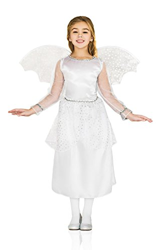 Dance Crew Costume Ideas (Kids Girls Winter Guardian Angel Angelic Divine Fairy Wings Party Fancy Dress Up (3-6 years, White/Rhinestones))