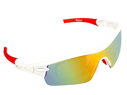 Poshei P03 Polarized Sports Sunglasses with 5 Set Interchangeable Lenses for Biking Fishing Running Driving Golf Baseball - Sunglasses And Baseball Red White