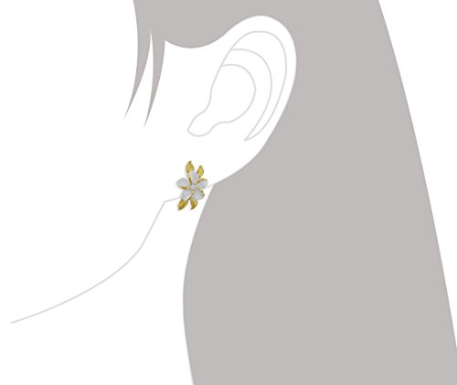 Sterling Silver with 14kt Yellow Gold Plated Accents Plumeria Maile Leaf Earrings