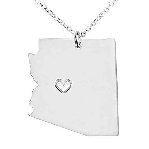 18K Gold Silver Country Map Charm Pendant Arizona state Map Necklace Jewelry (Silver)