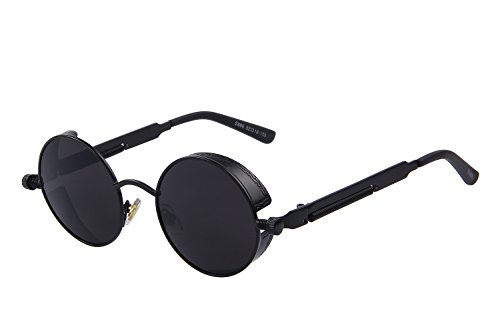MERRY'S Gothic Steampunk Sunglasses for Women Men Round Lens Metal Frame S567(Black, - Glasses Steampunk