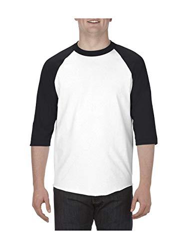 Alstyle Apparel AAA Unisex Classic Raglan 3/4 Sleeve Baseball T-Shirt, White/Black, X-Large