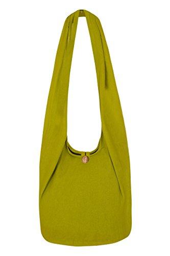 ThaiUK Damen Hippie-Tasche mit Schulterriemen, Boho-Stil, 100 % Baumwolle Lime
