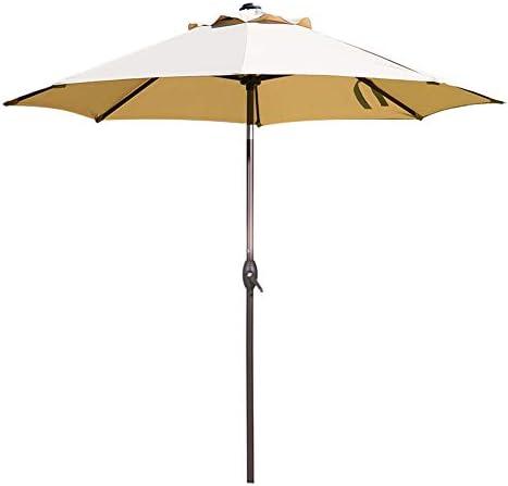 Abba Patio 9 Feet Patio Umbrella Market Outdoor Table Umbrella with Auto Tilt and Crank, Beige