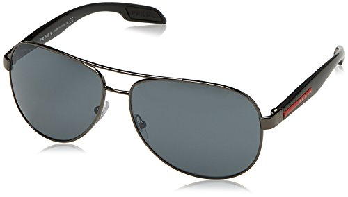 Prada Linea Rossa  Men's 0PS 53PS Black/Light Grey Mirror Black Sunglasses (Rossa Prada Linea Sunglasses)