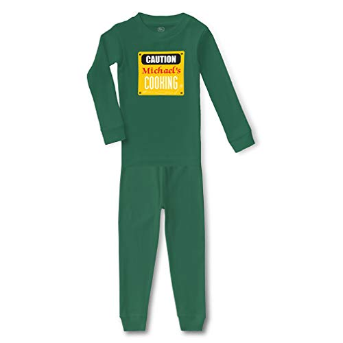 (Personalized Custom Funny Caution Michael's Cooking Cotton Crewneck Boys-Girls Infant Long Sleeve Sleepwear Pajama 2 Pcs Set - Kelly Green,)