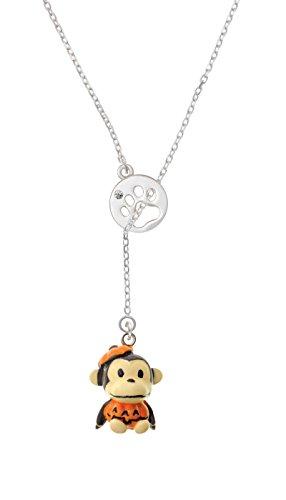 Resin Monkey in Pumpkin Costume Paw Print Disc Lariat Necklace (Hindu Halloween Costumes)