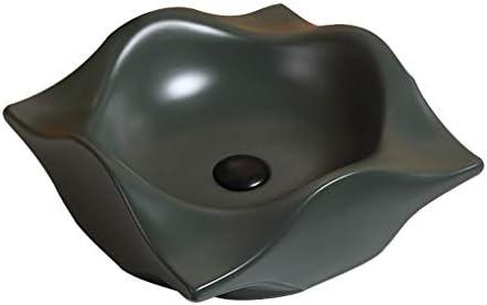 WJ 洗面台 バスルームの洗面台、(タップ無し)家庭用マットセラミック上記カウンタ流域技術バニティ緑色単一流域、42X41X14.5cm /-/ (Size : 42X41X14.5cm)