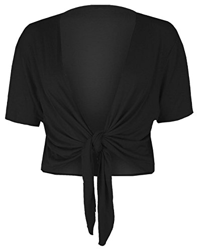 REAL LIFE FASHION LTD Womens Short Sleeve Tie Up Front Cardigan Ladies Bolero Shrug Cropped Cardigan#(Black Tie Up Front Cardigan#US - Sleeve Open Tie Short