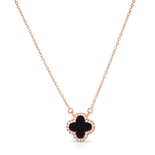 (Unique Royal Jewelry Little Sterling Silver Black Onyx and Cubic Zirconia Four Leaf Clover Necklace with Adjustable Length. (14K Rose Gold Plated) )
