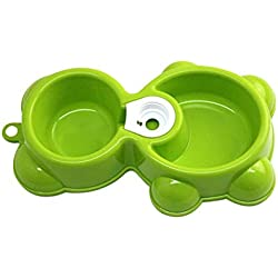 PEHTEN Cute Bear Shape Pet Bowl Dish Automatic Dual-Drinking Dispenser Water Food Feeder Fountain Puppy Dog Cat Bowl Wholesale 40FB20 Green M