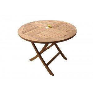 Table de jardin pliante en teck brut - diametre 100 cm ...