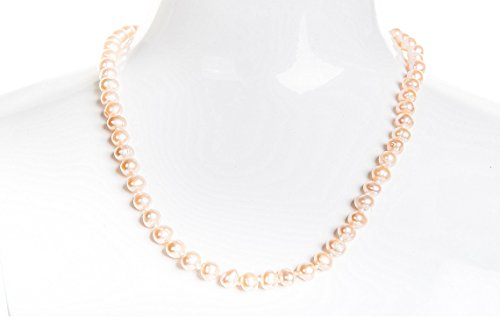 Single Strand Peach Freshwater Pearl Necklace 6mm 22