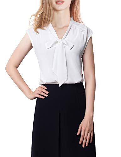 Timeson Sleeveless Work Tops for Women, White Tank Blouse Tie Bow V Neck Chiffon Shirt Womens Summer Tunic for Leggings Flowy Button Up Blouses Sleeveless Collar Shirt White Medium