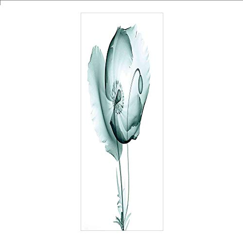 (3D Decorative Film Privacy Window Film No Glue,Xray Flower,Poppy Flower Blooms Floral Radiographs Unusual Rare Art Print Home Decoration,Teal White,for Home&Office )