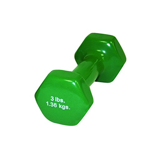 CanDo 10-0552-1 Vinyl Coated Dumbbell, 3 lb, Green