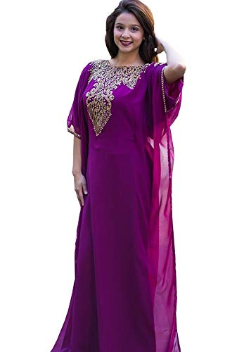 Covered Bliss Aceil Kaftan for Women-Long Sleeve Maxi Dress, Gown Formal Lounge Wear (Purple), Free Size