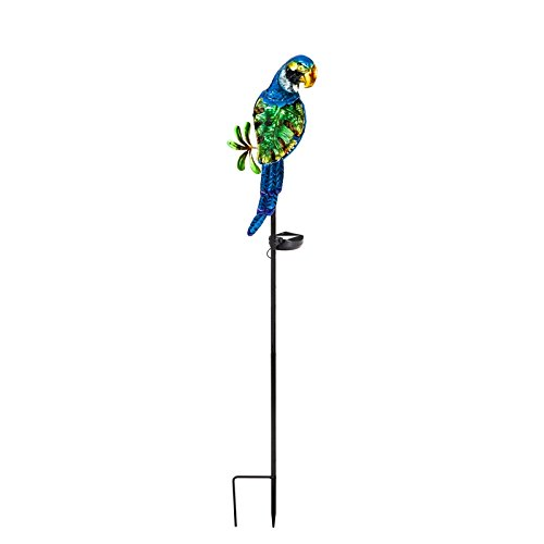 New Creative Parrot Metal and Glass Solar Garden Stake by New Creative