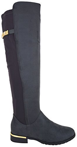WOMENS LADIES STRETCH OVER THE KNEE BOOTS LOW HEEL GOLD TRIM ZIP BOOT SHOE SIZE FXRfpOwloq