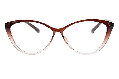 MEDOLONG Anti Blue Ray Computer Reading Glasses TR90 Cateye Women's Frame Blue Light Light Spectacles-RG5865R(brown, anti blue light ()